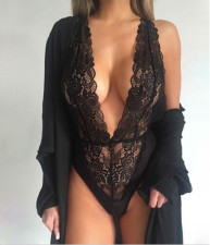 Black Lace Plunging Neck Perspective Lingerie  YQ-228