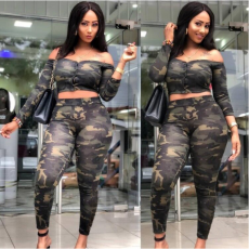 Camouflage Print Slash Neck Crop Tops Pant Set MK-1026