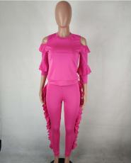 Ruffles Cold Shoulder 2 Piece Pant Set QY-5047
