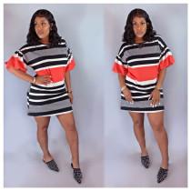 Striped Short Puff Sleeve O Neck Mini Dresses FNN-8279