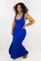 Blue Sleeveless Slim Fit Maxi Dresses JH-099