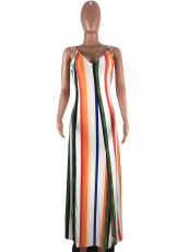 Rainbow Stripe Spaghetti Strap Split Long Dress CQ-5193