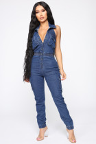 Denim Backless Sleeveless Button Up Jeans Jumpsuits LX-8695