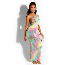 Sexy Printed Halter Backless Maxi Dresses TE-3730