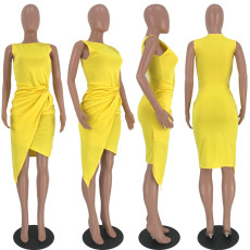 Yellow Sleeveless Irregualr High Low Midi Dress LDS-3126