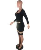 Black Patchwork Long Sleeve Bodycon Dress LP-697