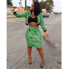 Fashion Printed Jacket Top And Midi Skirt 2 Piece Suit ARM-8025