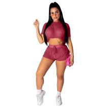 Sexy Mesh See Through Two Piece Shorts Set FNN-8261