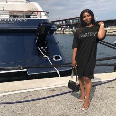 Black Letter Print Half Sleeve T Shirt Dress MYP-8824