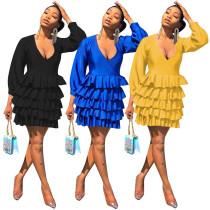 Sexy Deep V Ruffles Cascading Long Sleeve Mini Dress MEM-8227