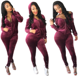 Wine Red Velvet Pearl Tracksuit Two Piece Set CM-274