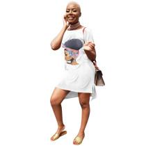 Casual Printed O Neck Short Sleeve Irregular Mini Dress YN-9097