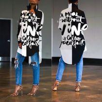 Letter Print Full Sleeve Irregular Long Style Shirts ORY-5089