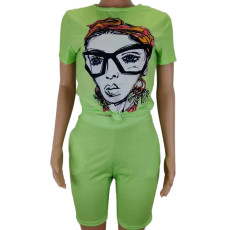 Character Print T Shirt And Shorts Two Piece Sets CL-6018