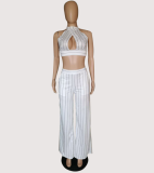 Striped Halter Crop Top Wide Leg Pants Set YIS-905