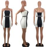 Black White Stripes Spaghetti Straps Dress LDS-3016