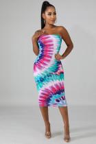 Sexy Printed Strapless Bodycon Midi Dresses YD-8106