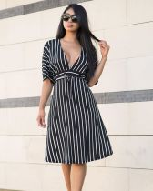 Sexy Striped Deep V Neck Midi Dresses YMT-6081