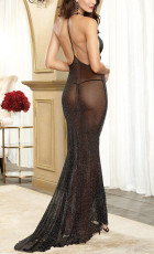 Transparent Sheer Low-cut Black Dress YQ- 6046