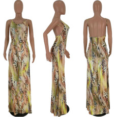 Sexy Pritned Sleeveless Spaghetti Strap Backless Maxi Dress TK-6012