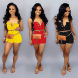 Casual Straps Crop Tops Shorts Two Piece Sets PN-6170