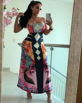 Sexy Printed Strapless Wrap Long Maxi Dresses MA-182