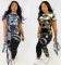 Casual Printed Short Sleevel Two Piece Sets HZM-8003