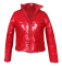 PU Leather Zipper Long Sleeve Down Jacket OSM-4524