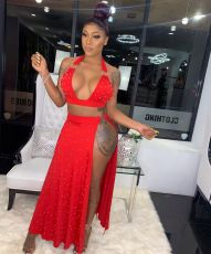 Red Sexy Beading Halter High Split Two Piece Club Dress MYP-8873