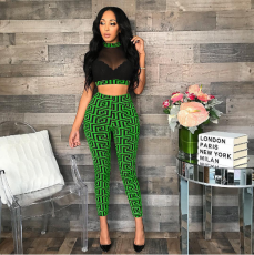 Green Geometry Print Mesh Crop Top Pant Set HMS-5155
