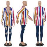 Colorful Stripes Open Stitch Notched V Neck Blazers PN-6235
