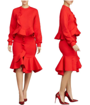 Elegant Ruffles Long Sleeve Tops And Skirt Set LS-0238