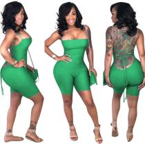 Green Backless Strap skinny Romper YN-996