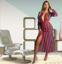 Striped Button Up Long Sleeve Straight Maxi Dress YD-8043