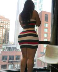 Multi Striped Strapless Tops Mini Skirt Set HM-6006