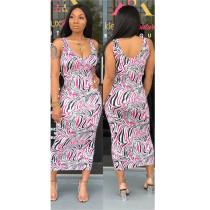 Striped Print Ankle Length Bodycon Midi Dresses ARM-8072