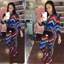 Colorful Stripe Casual Tracksuit Two Piece Set LP-696