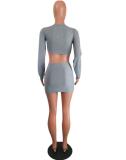 Red 2Pcs Crop Top Mini Pencil Skirts Sets MTY-667