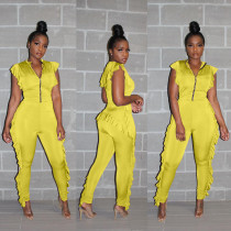Solid Ruffles Side Front Zip Jumpsuits LDS-3130