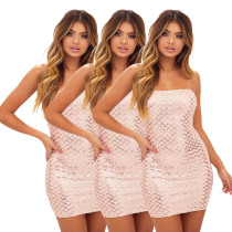 Sequined Plaid Spaghetti Strap Club Dresses PN-6125