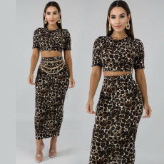 Sexy Leopard Print Short Sleeve Maxi Skirt 2 Piece Sets KSN-5053