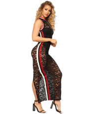 Black Lace Sleeveless See Through Slits Jumpsuit LX-2062
