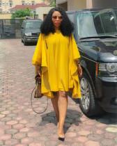 Yellow Casual Loose Batwing Sleeve Mini Dresses NIK-037