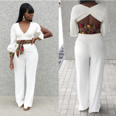 White Crop Top And Wide Leg Pant Set TEN-3272
