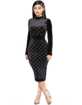 Backless Drilling Long Sleeve Bodycon Dress LX-9983