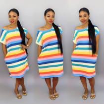 Rainbow Stripe Short Sleeve Midi Dresses YS-8345