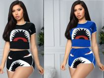 Casual Printed Tracksuit Short Sleeve 2 Piece Shorts Set MX-98010