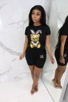 Black Cartoon Print T Shirt Top Shorts 2 Piece Set YIS-828