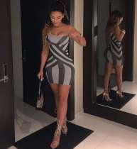 Sexy Printed One Shoulder Mini Bodycon Dresses MEI-9001