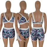 Floral Print Crop Tops Shorts Sports Two Piece Sets HM-6122